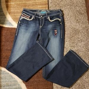 ARIAT WESTERN PATRIOTIC JEANS. LONG